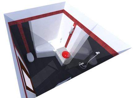 Łazienka z przestrzenną, czerwoną mozaiką.